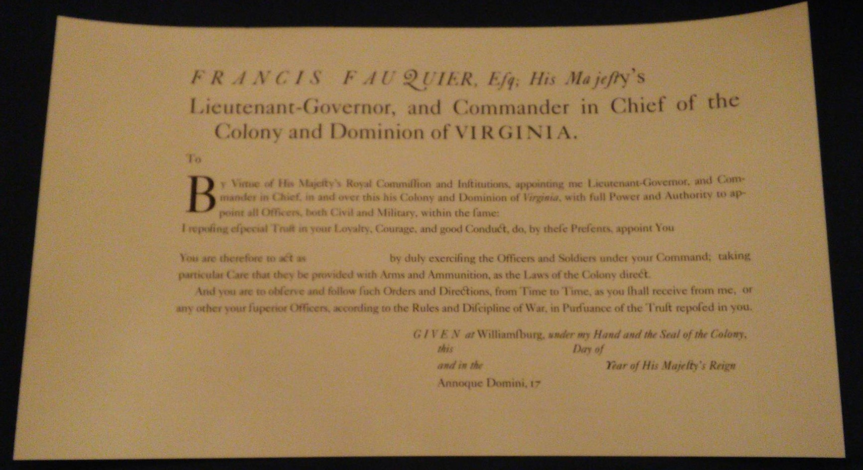 1759 Virginia Officer's Commission