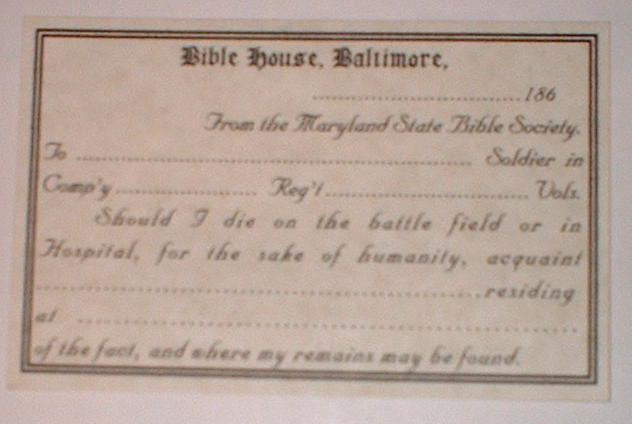 Maryland Bible Society Card
