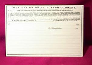 Western Union Telegraph Sheets
