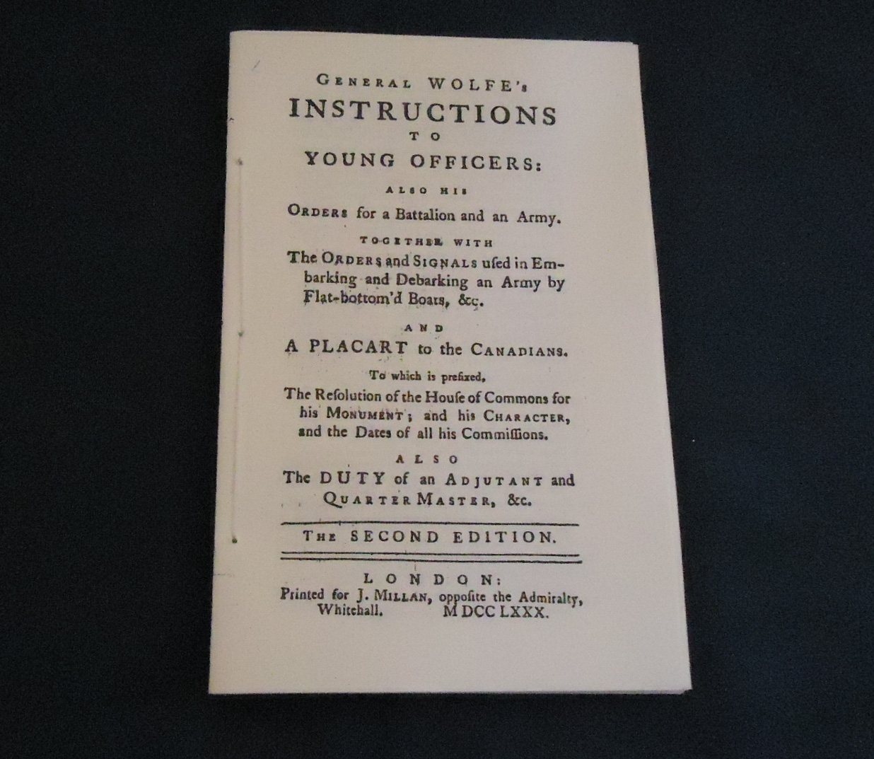 Wolfe's Instructions