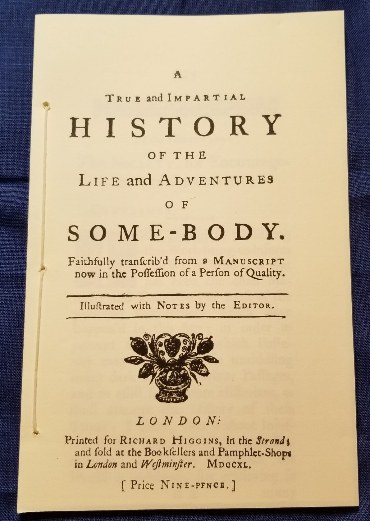 History of the Life and Adventures of Some-Body