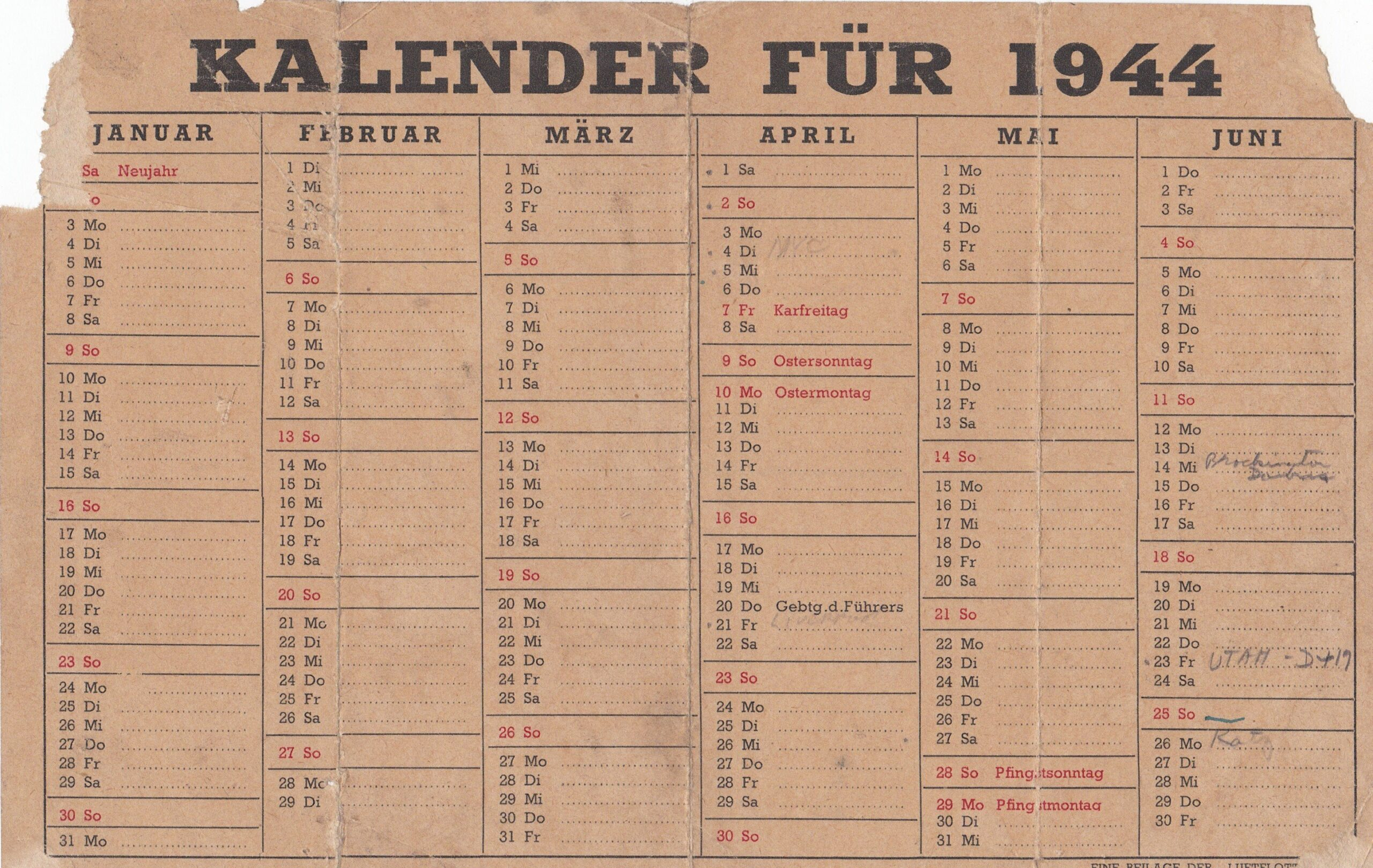 German Army Calendar
